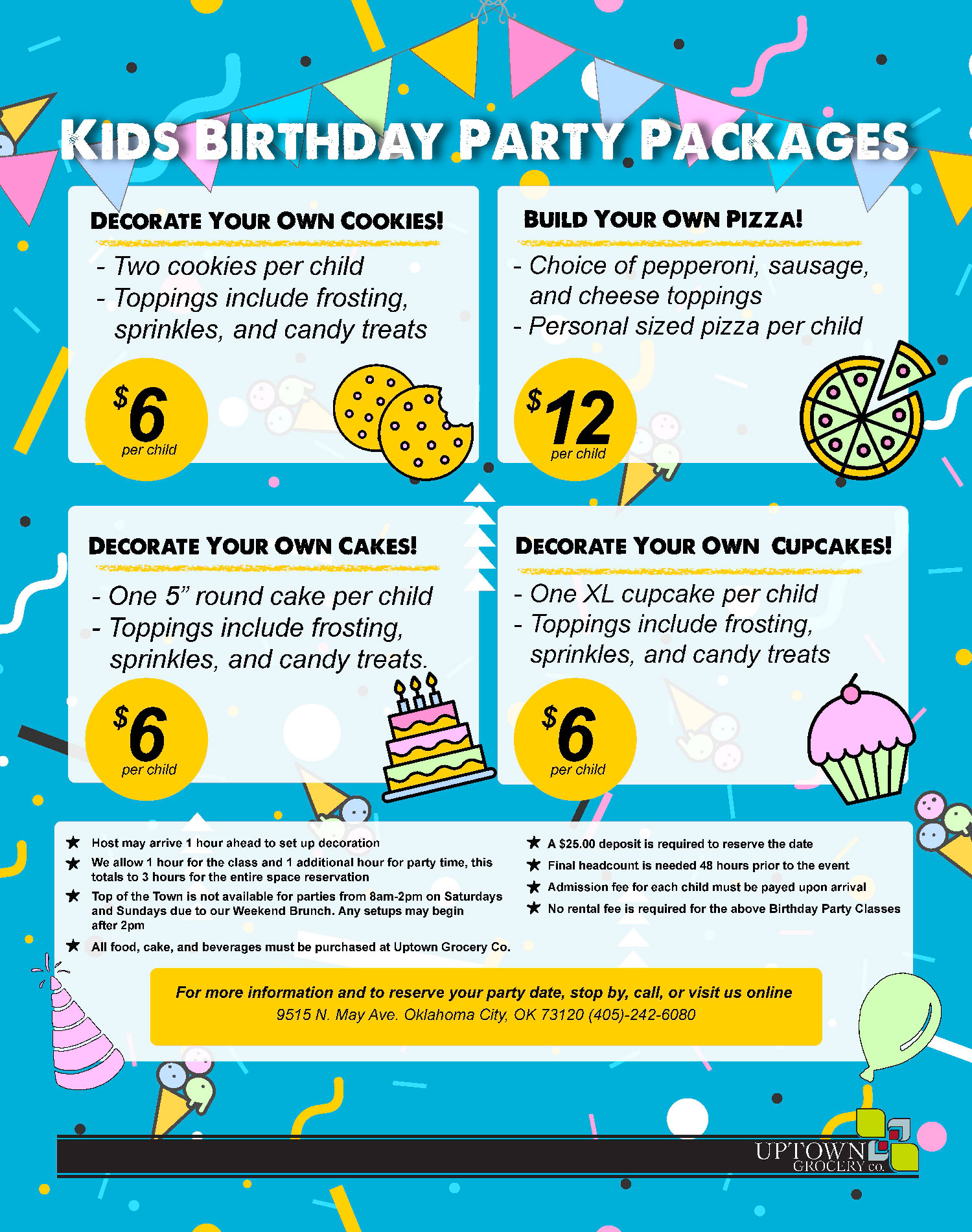 Kids Birthday Party Packages - Uptown Grocery Co